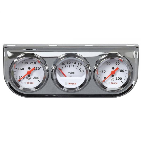 Zusatzinstrumente chrom/weiß, 50 mm, 12V, 3er-Set inkl. Geber